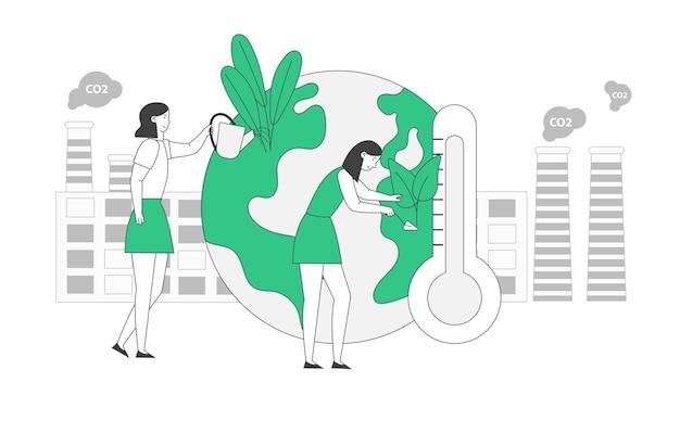 Opwarming van de aarde concept. meisjes verzorgen van planten op aarde