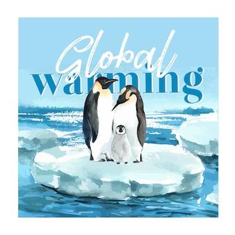 Opwarming van de aarde en vervuiling. brochure van de affichevlieger reclamecampagne, sparen de wereldsjabloon