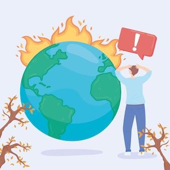 Opwarming van de aarde klimaatverandering illustratie