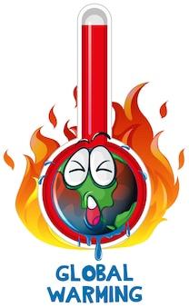 Opwarming van de aarde met aarde in brand