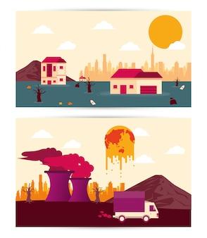 Opwarming van de aarde met ingestelde scènes