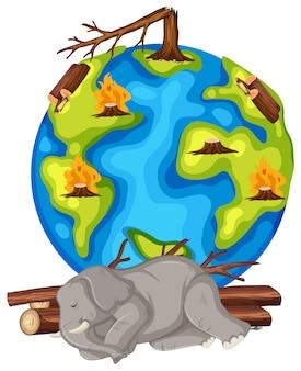 Opwarming van de aarde met ontbossing en stervend dier