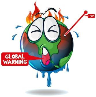 Opwarming van de aarde met oververhitte aarde