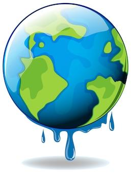 Opwarming van de aarde met smeltende aarde