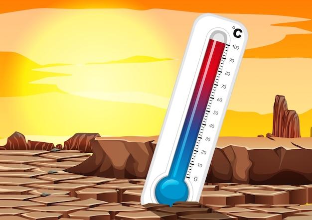Opwarming van de aarde met thermometer in droog land