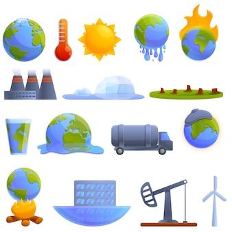 Opwarming van de aarde pictogrammen instellen. cartoon set van opwarming van de aarde vector iconen