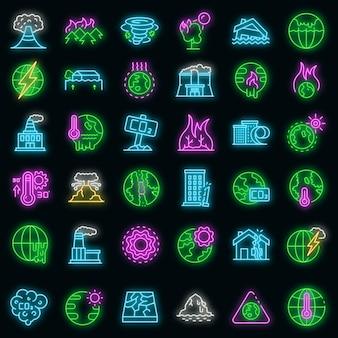 Opwarming van de aarde pictogrammen instellen. overzicht set van globale opwarming van de aarde vector iconen neon kleur op zwart