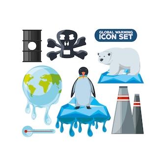 Opwarming van de aarde pictogramserie