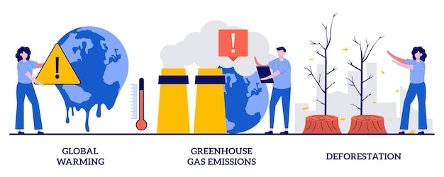 Opwarming van de aarde, uitstoot van broeikasgassen, ontbossing concept. klimaatverandering, globale verwarming set