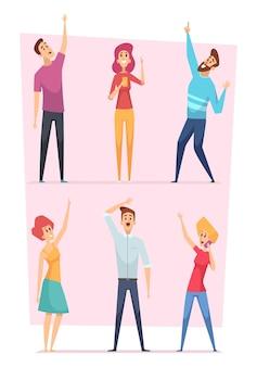 Opzoeken. mensen wijzen in de lucht groep gelukkige karakters vector illustraties. mensen verdringen het publiek dat kijkt en omhoog wijst