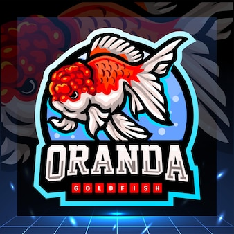 Oranda goudvis mascotte esport logo ontwerp