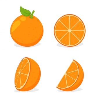Orang-fruit. sinaasappels in tweeën gesneden en vervolgens geperst sinaasappelsap op wit