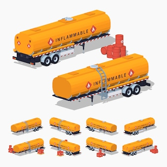 Orange 3d lowpoly isometrische brandstoftank