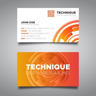 Orange tech business card template