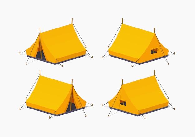 Oranje 3d lowpoly isometrische kampeertent