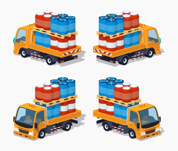 Oranje 3d lowpoly isometrische vrachtwagen geladen met vaten