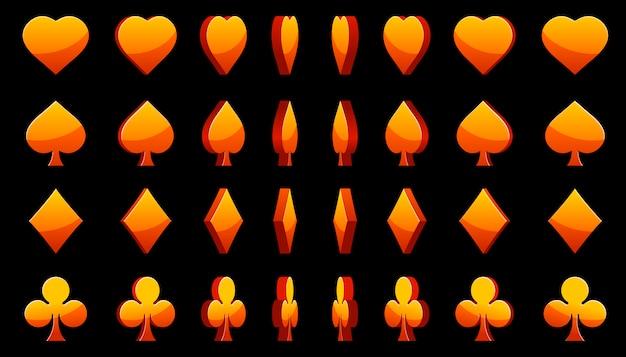 Oranje 3d symbolen pokerkaarten, animatie spelrotatie