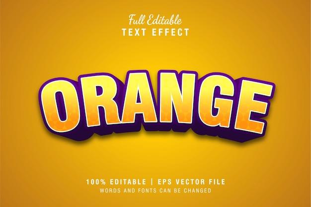 Oranje 3d tekst stijl effect sjabloon