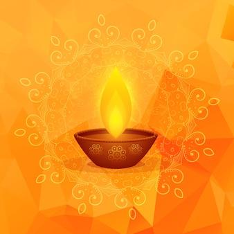 Oranje achtergrond met diwali festival diya en mandala decoratie