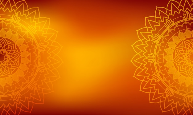 Oranje achtergrond met mandala's