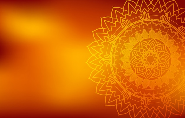 Oranje achtergrond met mandala