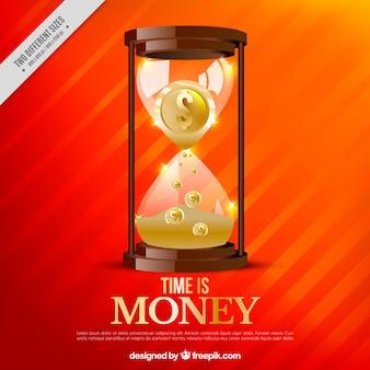 Oranje achtergrond met zandloper en munten
