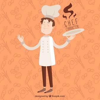 Oranje achtergrond van chef-kok