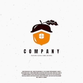 Oranje acorn illustratie logo premium