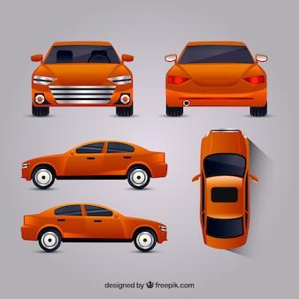 Oranje auto in verschillende uitzichten