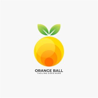 Oranje bal logo ontwerpsjabloon