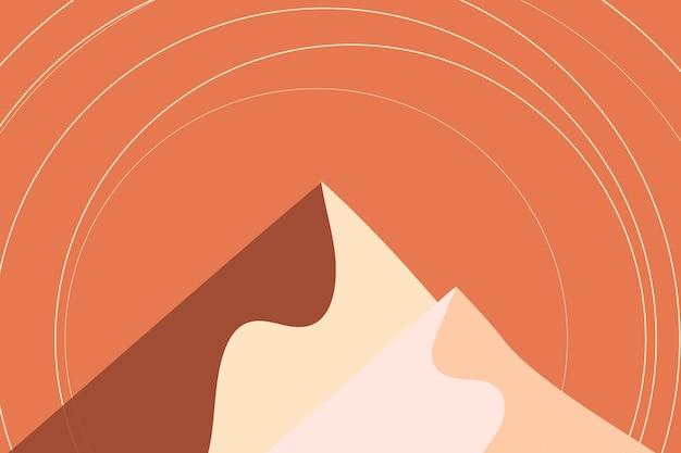 Oranje berg esthetische achtergrond vector