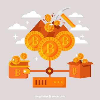Oranje bitcoin-ontwerp