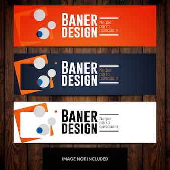Oranje blauw abstract bannermalplaatje met witte achtergrond