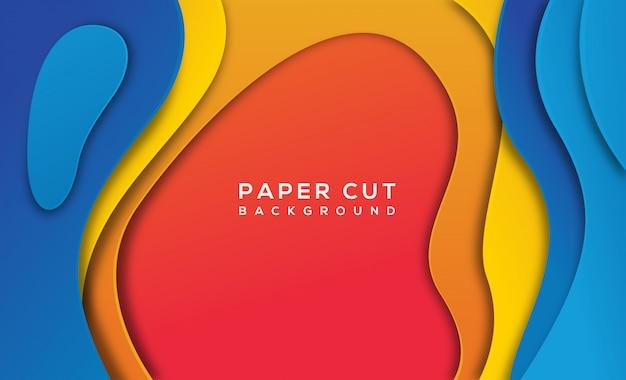 Oranje blauw abstract papier gesneden achtergrond