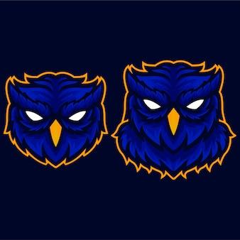 Oranje boos owl wings logo sjabloon
