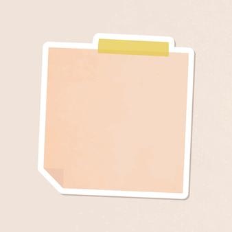 Oranje briefpapier dagboek sticker vector