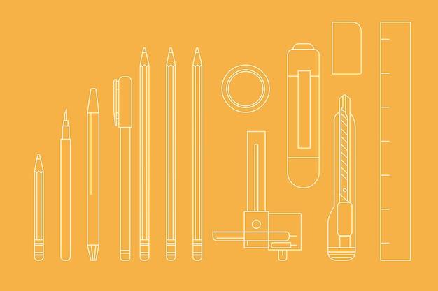 Oranje briefpapier overzicht, vector illustratie set