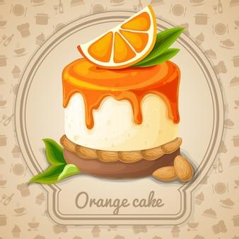 Oranje cakeillustratie