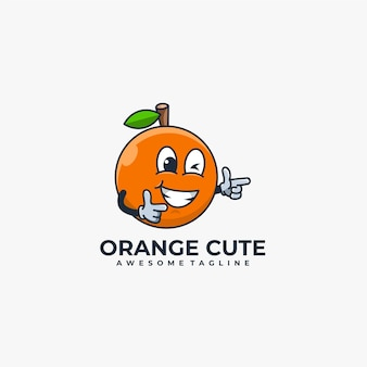 Oranje cartoon schattig logo
