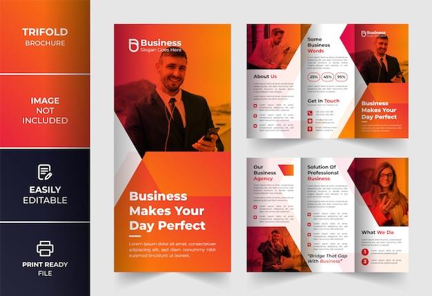 Oranje creatieve abstracte kleur zakelijke driebladige brochure ontwerpsjabloon
