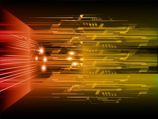 Oranje cyber circuit toekomst technologie concept achtergrond