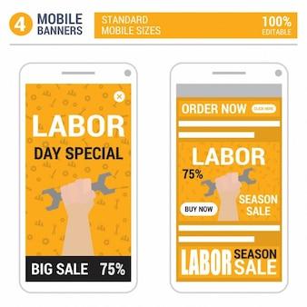 Oranje dag van de arbeid mobile banner ontwerp set