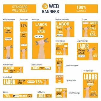 Oranje dag van de arbeid sale standaard grootte webbanners set vector banners van het web
