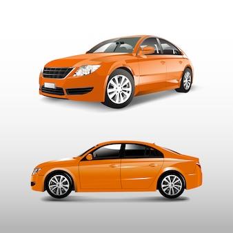 Oranje die sedanauto op witte vector wordt geïsoleerd