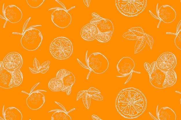Oranje doodle naadloos patroon