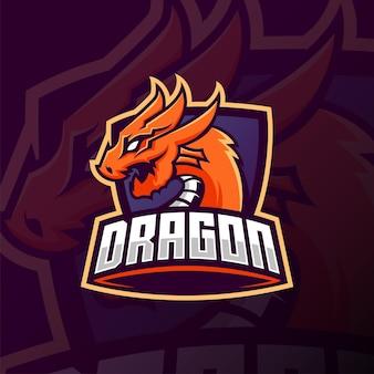 Oranje draak mascotte esport logo ontwerp