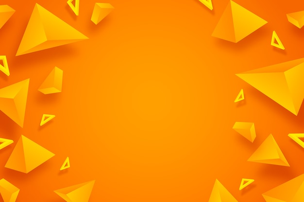Oranje driehoeks 3d ontwerp als achtergrond