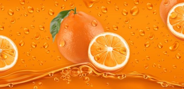 Oranje druppels. vers fruit achtergrond.