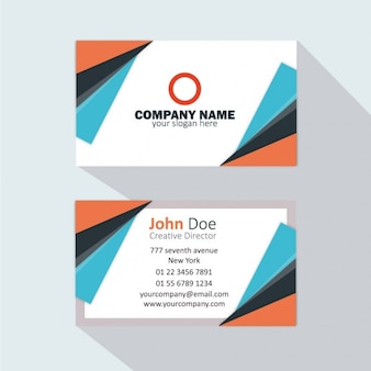 Oranje en blauw adreskaartje
