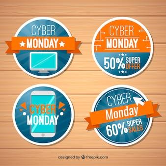 Oranje en blauw cyber maandag etiketten